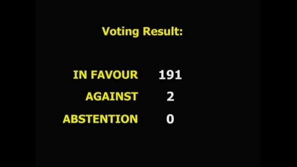 Vote against blockade in UN: 191 in favor, 2 against