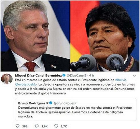 Denuncia Presidente cubano intento de golpe de Estado en Bolivia